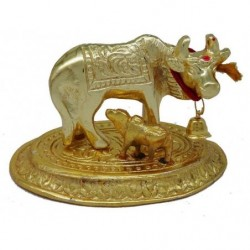Indo Mata Kamdhenu With Calf Idol Statue In Metal 6cm (Colour Golden)